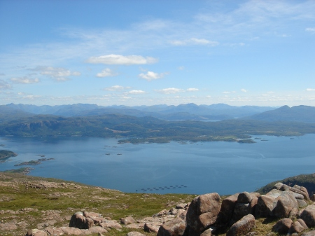 Looking over the fishfarms to Plockton